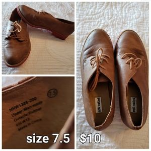Faux leather oxfords